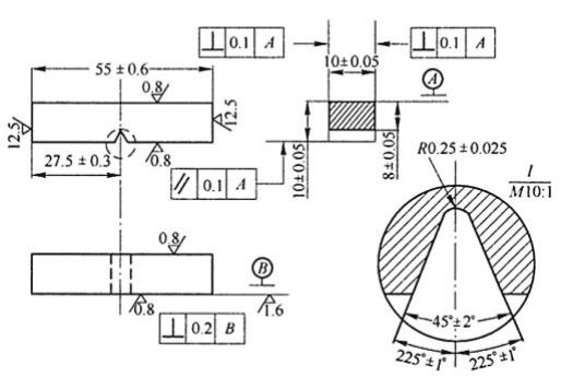 Fig.2-3 The size ofthe standard Charpy V-notched impact sample