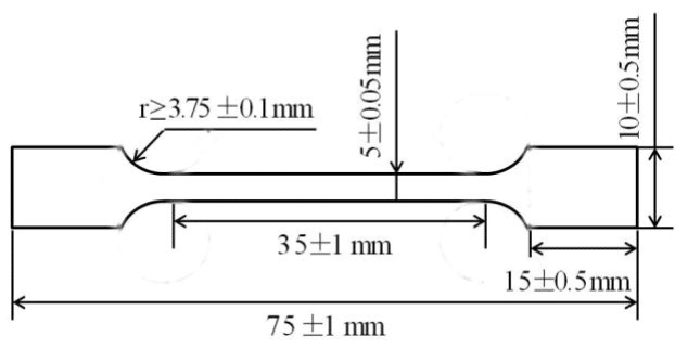 Fig.2-5 The sample size of tensile test.