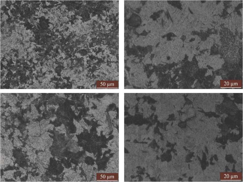 Fig.3-1 Microstructure of high carbon low alloy steels in different heat treatment process (a)(b)1#;(c)(d)2#