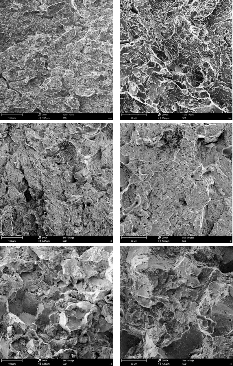 Fig.3-6 Fracture morphologies of high carbon low alloy steels in different heat treatment processes (c)(d)#2,(e)(f)#3,(g)(h)#4