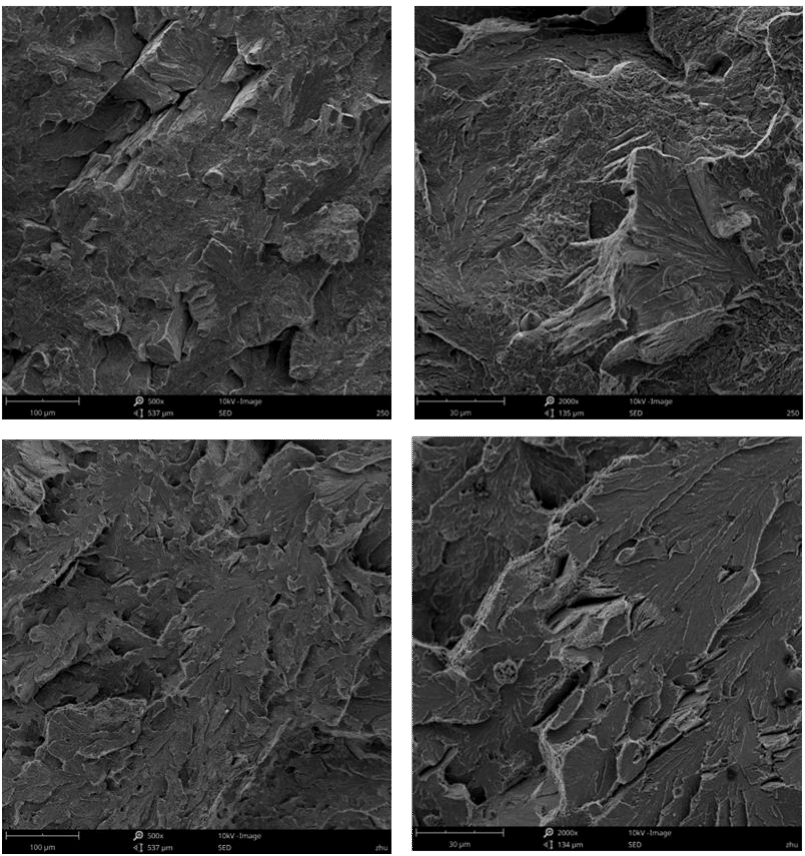 Fig.3-7 Fracture morphologies of medium carbon high chromium alloy steels in different heat treatment processes (g)(h)#4,(i)(j)#5