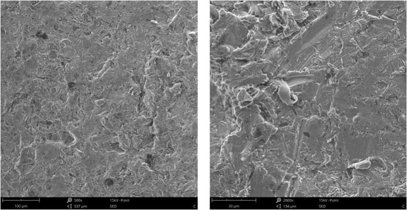 Fig.5-2 The worn surface morphology of different lining alloy steels under 4.5J impact energy (m)(n)7R