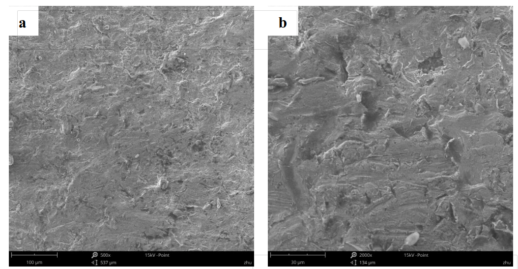 Fig.5-5 The worn surface morphology of different lining alloy steels under 9J impact energy (a)(b)1R