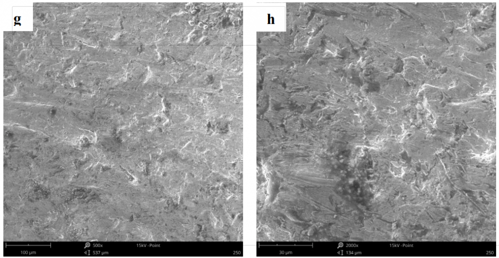 Fig.5-5 The worn surface morphology of different lining alloy steels under 9J impact energy (g)(h)4R